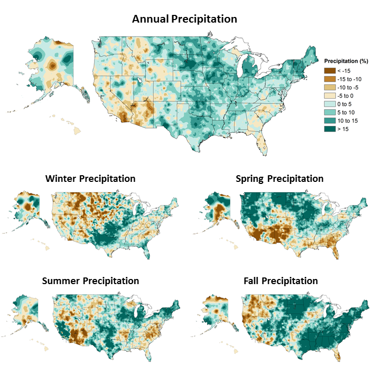 annual and seasonal changes in precipitation over the united states